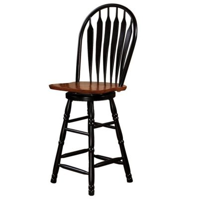 Black Cherry Selections - Swivel barstool finished in antique black with a Cherry seat - 30 inches high DLU-B30-BCH