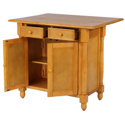 Kitchen Island with a drop leaf in light-oak finish - drawers and doors open - DLU-KI-4222-LO