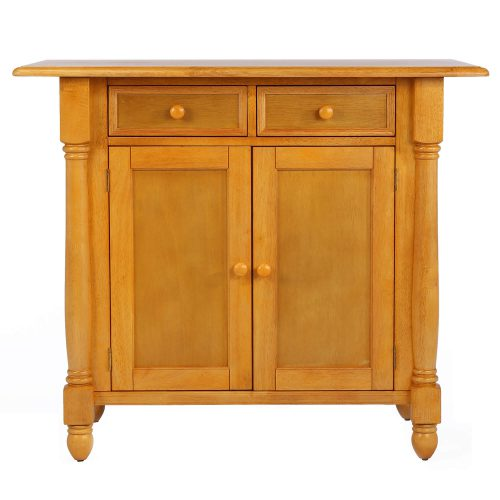 Kitchen Island with a drop leaf in light-oak finish - front view - DLU-KI-4222-LO