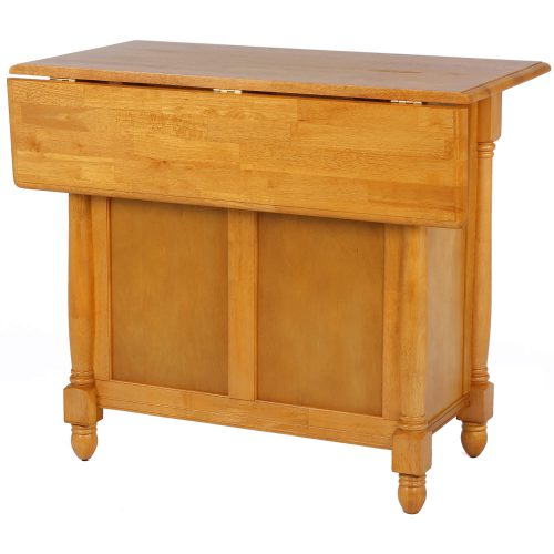 Kitchen Island with a drop leaf in light-oak finish - three-quarter view leaf down - DLU-KI-4222-LO