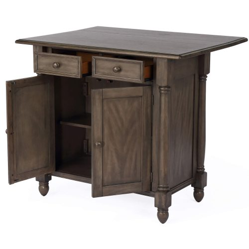 Shades of Gray Collection - kitchen island with drop leaf - three-quarter view drawers and doors open - DLU-KI-4222-AG