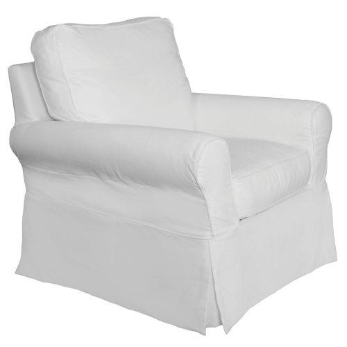 Horizon Slipcovered Swivel Rocking Chair - three-quarter view - SU-114993-391081