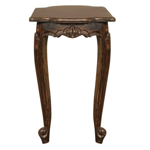 Vintage iron stain Mahogany accent table - front view CC-TAB065S-VI