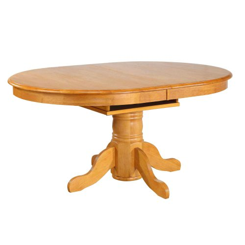 Oak Selections - Pedestal dining table with butterfly leaf in a light-oak finish DLU-TBX4266-LO