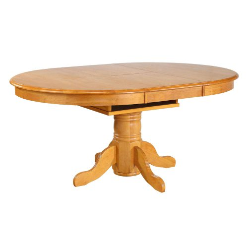 Oak Selections - Pedestal dining table with butterfly leaf in a light-oak finish with leaves in DLU-TBX4266-LO
