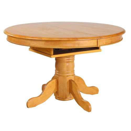 Oak Selections - Pedestal table with butterfly top - light-oak finish - table closed DLU-TBX4866-LO