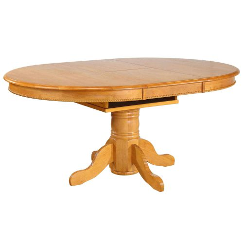 Oak Selections - Pedestal table with butterfly top - light-oak finish - table opened DLU-TBX4866-LO