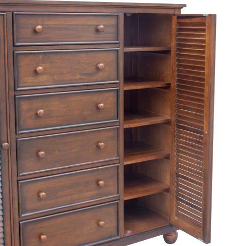 Armoire with six drawers - side door open - Bahama shutterwood - CF-1142-0158