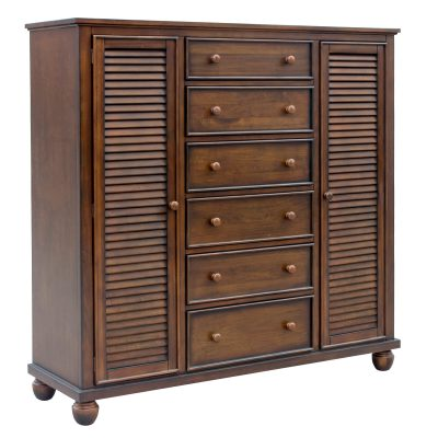 Armoire with six drawers - three quarter view - Bahama shutterwood - CF-1142-0158