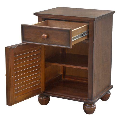 Nightstand with one drawer - Bahama Shutterwood - drawer and door open - CF-1137-0158