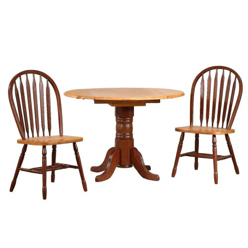 Oak Selections - 3-piece dining set - round drop leaf table and two arrow-back chairs - nutmeg finish with light-oak top DLU-TPD4242-820-NLO3PC