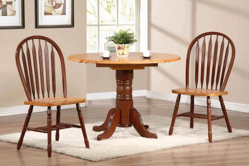 Oak Selections - 3-piece dining set - round drop leaf table and two arrow-back chairs - nutmeg finish with light-oak top - dining room setting DLU-TPD4242-820-NLO3PC