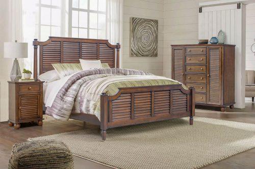 Queen sized bed - Nightstand - Armoire - Bahama Shutterwood - bedroom scene - CF-1137-0158