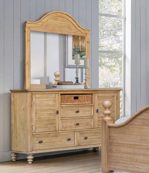 Vintage Casual Dresser with Bedroom Mirror - bedroom scene - CF-1234-0252