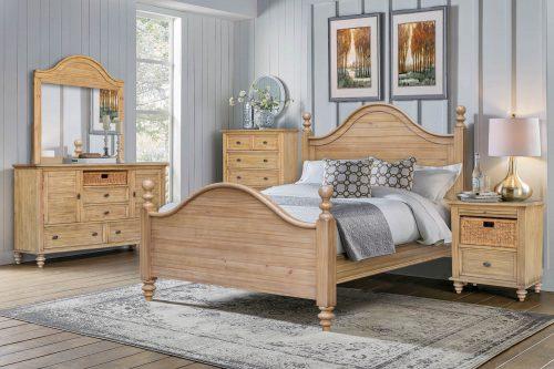 Vintage Casual Queen sized bed - Dresser with Mirror - Nightstand - Chest - bedroom scene - CF-1241-0252