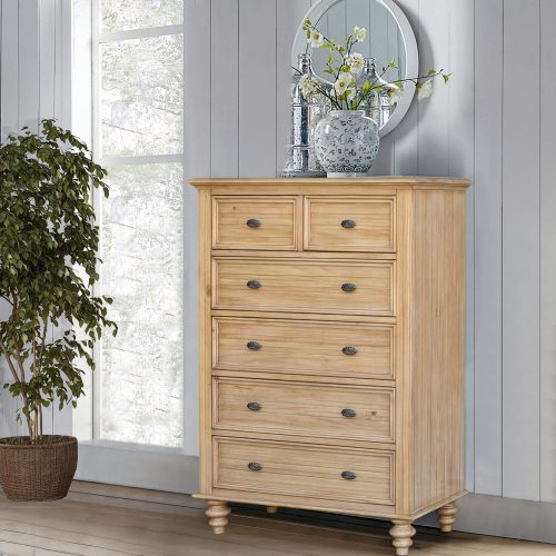 Vintage Casual Six Drawer Chest - bedroom scene - CF-1241-0252