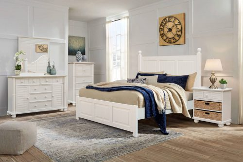 Ice Cream at the Beach Collection - Queen size bed frame - night table, dresser with mirror, chest with four drawers - CF-1701-0111-Q-5PC