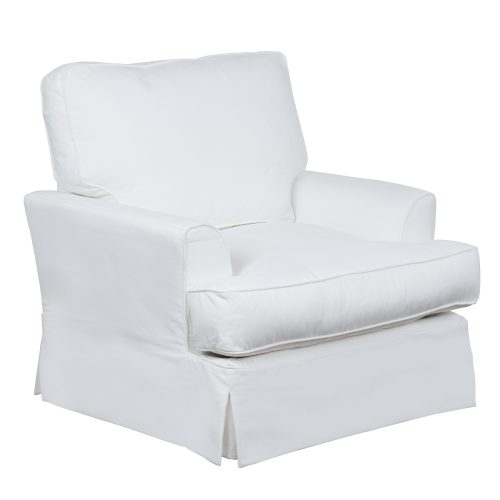 Ariana Slipcovered Chair - Performance White - three quarter view - SU-78320-81