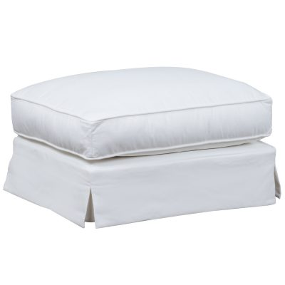 Ariana Slipcovered Ottoman – Performance White - Three quarter view - SU-78330-81