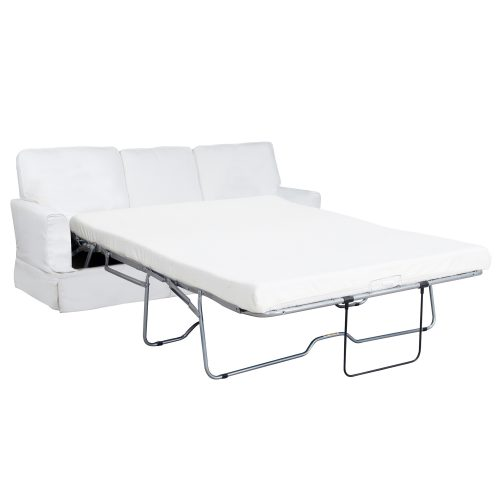 Ariana Slipcovered Sleeper Sofa – Performance White - Open - SU-78341-81