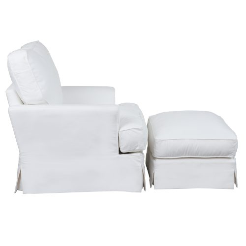 Slipcovered Chair with Ottoman – Performance White - Side view - SU-78320-30-81