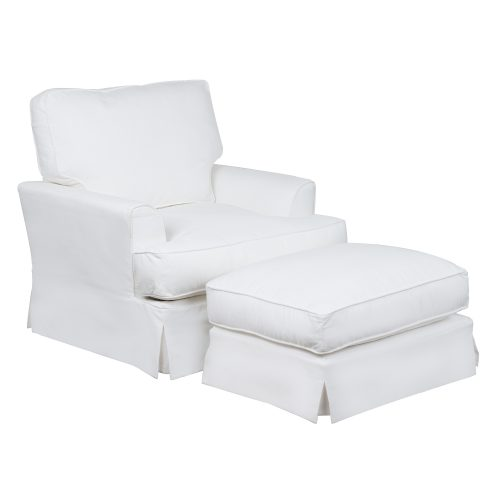 Slipcovered Chair with Ottoman – Performance White - Three quarter view - SU-78320-30-81
