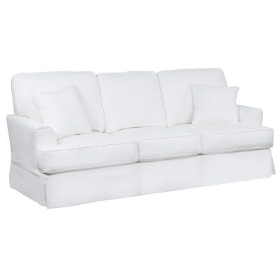 Slipcovered Sofa – Performance White - three quarter view SU-78301-81