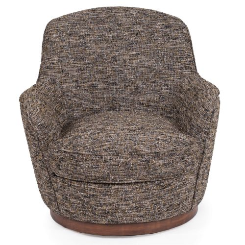 Heathered Black Brown Soft Tweed Swivel Chair - Front view SU-1705-93-871885
