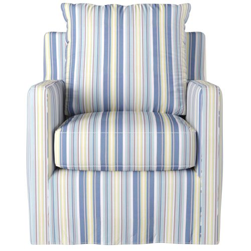 Slipcovered swivel chair with box cushion and track arm - front view in seaside beach striped SU-159593-395245