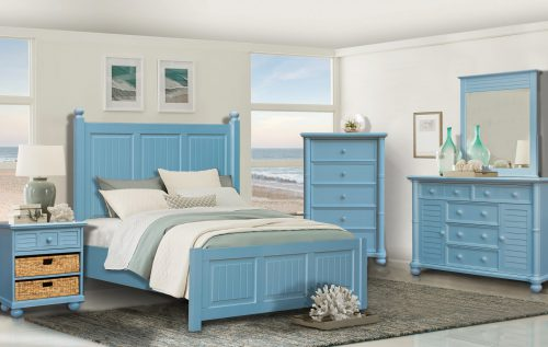 Ice Cream at the Beach collection - queen bed frame - dresser with mirror - chest - nightstand end table - 0156 Finish - bedroom setting - CF-1737-0156