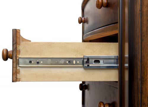 Nightstand with three drawers - Bahama Shutterwood - drawer open showing hardware - CF-1136-0158