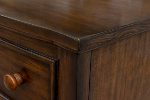 Nightstand with three drawers - Bahama Shutterwood - top and side detail - CF-1136-0158
