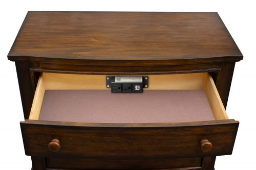 Nightstand with three drawers - Bahama Shutterwood - top drawer open - CF-1136-0158