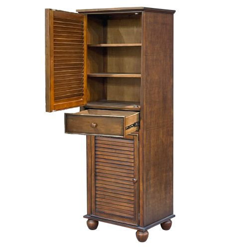 Tall Cabinet with Drawer - Bahama Shutterwood - open door and drawer - CF-1145-0158