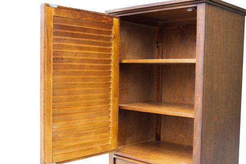 Tall Cabinet with Drawer - Bahama Shutterwood - open door showing shelves - CF-1145-0158