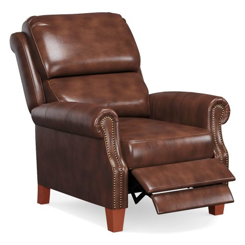 Alexander Pushback Recliner - Chocolate - Three quarter view in partial recline - SY-689-86-9307-88