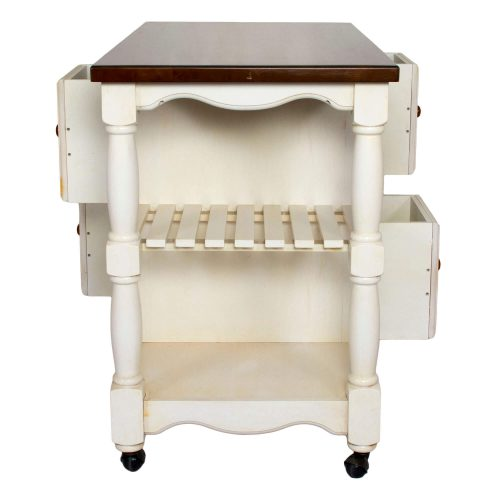 Andrews Kitchen Cart on casters in distressed white - side view showing storage shelves - DCY-CRT-03-AW