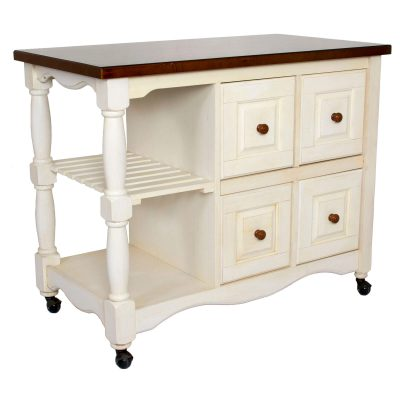 Andrews Kitchen Cart on casters in distressed white - three-quarter view - DCY-CRT-03-AW