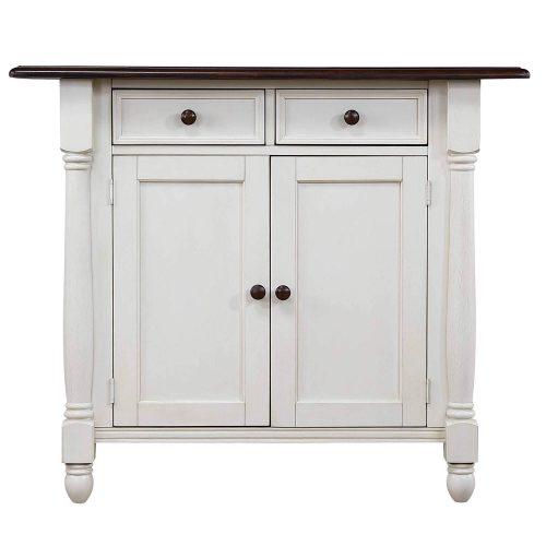 Andrews kitchen island in Antique white with a Chestnut top - cabinet door view - DLU-KI4222-AW