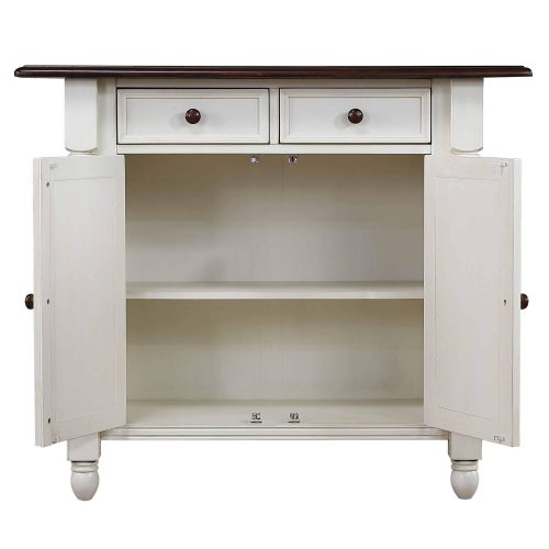 Andrews kitchen island in Antique white with a Chestnut top - cabinet doors open - DLU-KI4222-AW