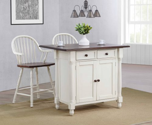 Andrews kitchen island with matching stools in Antique white with a Chestnut top - kitchen setting - DLU-KI4222-AW