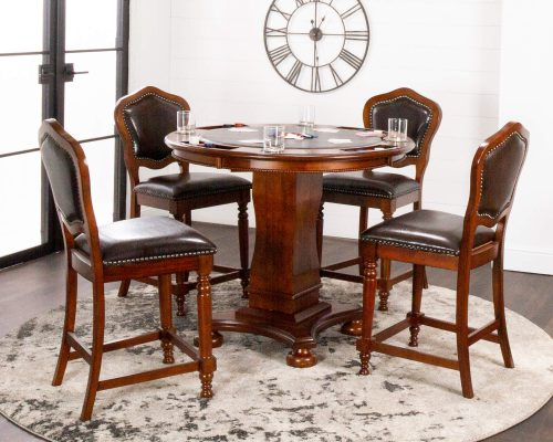 Bellagio Collection - Counter height dining and game table with four chairs - living room setting - CR-87148-TCB-5P