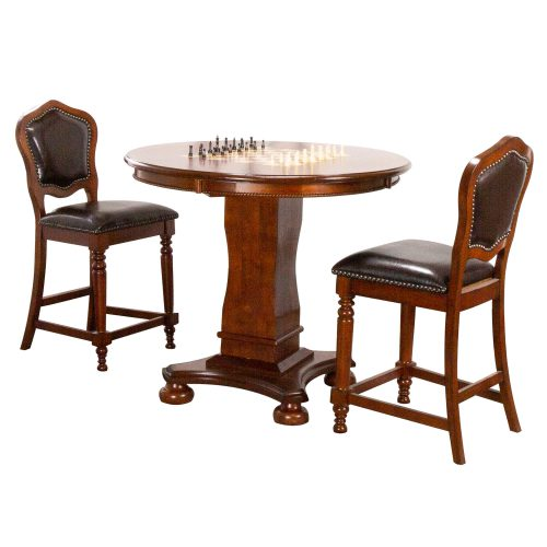 Bellagio Collection - Counter height dining and game table with two chairs - CR-87148-TCB-3P
