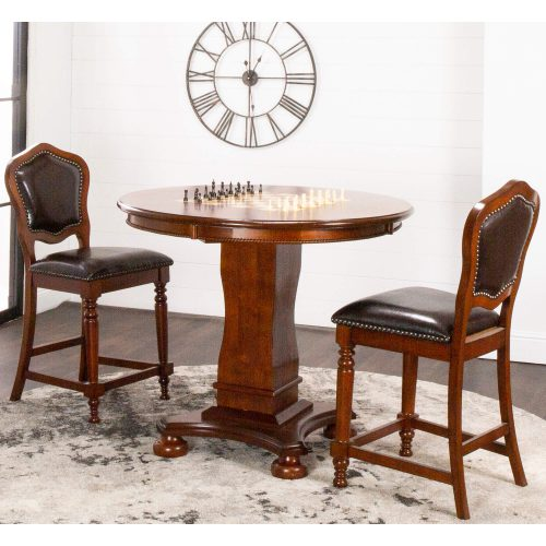 Bellagio Collection - Counter height dining and game table with two chairs -living room setting - CR-87148-TCB-3P