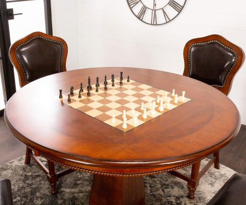 Bellagio Collection - Flip top dining and game table with four chairs - chess top view - CR-87148-5PC