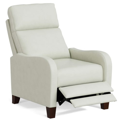 Dana Pushback Recliner shown in Pearl White - Three-quarter view in partial recline - SY-1005-86-9102-81