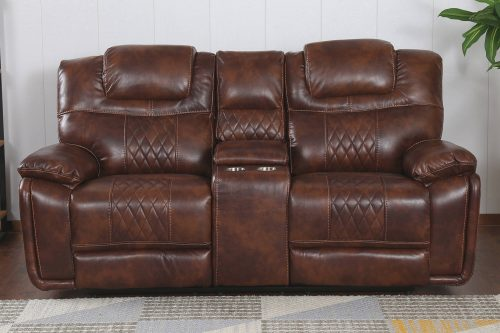 Diamond Power Reclining Collection - Reclining living room set in brown - Loveseat- front living room view - SU-ZY5018A003-H246