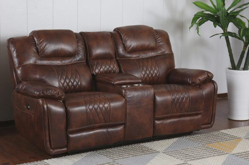 Diamond Power Reclining Collection - Reclining living room set in brown - Loveseat- three-quarter living room view - SU-ZY5018A003-H246
