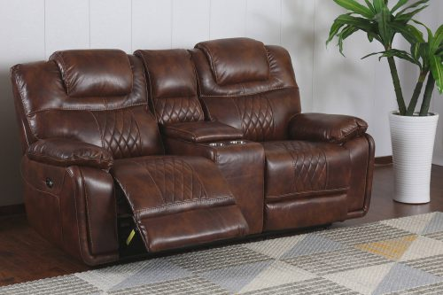 Diamond Power Reclining Collection - Reclining living room set in brown - Loveseat- three-quarter living room view in partial recline - SU-ZY5018A003-H246