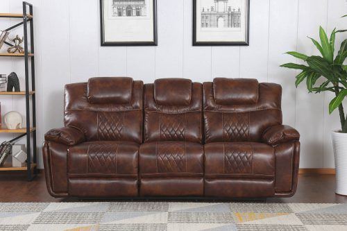 Diamond Power Reclining Collection - Reclining living room set in brown - Sofa- front view - SU-ZY5018A003-H246